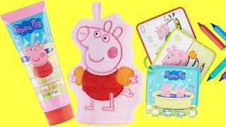 PEPPA PIG Bath Time Tub Sets, Body Wash, Scrub Hand Mitt, Coloring Book Crayons, Foam Numbers / TUYC
