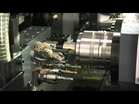 VIDEO TORNO CNC TIPO SUIZO MARCA POLYGIM TAIWAN CON CONTROL MITSUBISHI