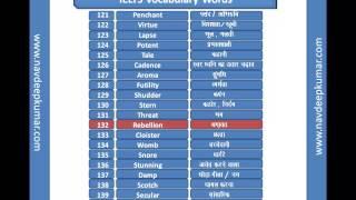 IELTS  : English-Hindi Vocabulary Part 2