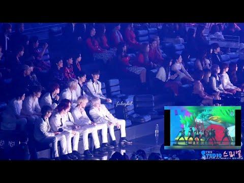 181106 WANNA ONE, TWICE, MOMOLAND, CELEB FIVE'S REACTION TO BTS 'IDOL' @ MGA 2018
