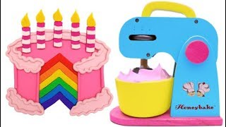 Learn Colors with Play Doh and Mixer Playset Making Birthday Cake for Kids