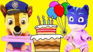 PJ Masks Birthday Party Cake for Superhero Catboy, Owlette, Villain Romeo with Paw Patrol Toys