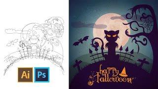 Tutoriel Illustrator - Tuto illustration vectorielle - Dessin pour Halloween avec Illustrator