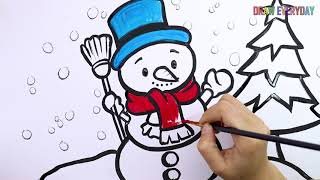 How To Draw Glitter and Learn coloring Snowman cool and so nice  || Draw Everyday