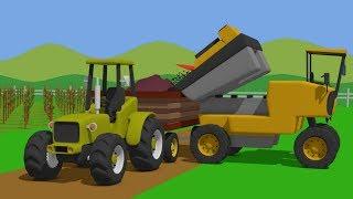 Field work on a grape harvest   Green Tractor and grapes   Zielony Traktor Zbiór Winogron   Bajka 🤠