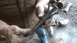Blacksmithing - Forging A Railroad Spike Plug and Feather Rock Splitting Wedge Set