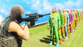 CAN 1 SNIPER BULLET KILL 100 CLOWNS!? (GTA 5 Funny Moments)