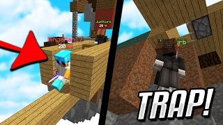 THE BEST TRAP IN Minecraft SKYWARS... (Minecraft SKYWARS TROLLING!)