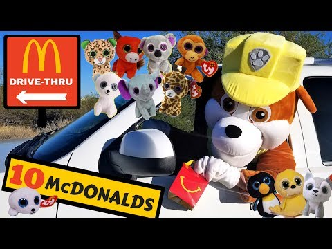 Paw Patrol Rubble Collects McDonald s Happy Meal Toys in Drive Thru