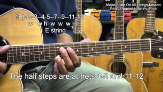 Learn The Major Scale On All 6 Guitar Strings In 5 Minutes Lesson EricBlackmonMusicHD
