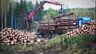 Volvo timber Truck FH16 -  loading logs with LOGLIFT crane (full HD version)