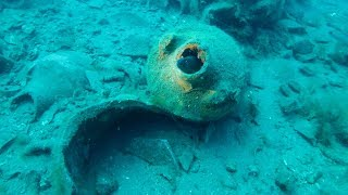 Scuba Diving on an Ancient Roman Shipwreck. Italy. Sea Life in 2000 Year Old Jars