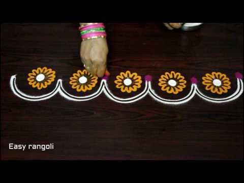 simple & easy creative colour rangoli border designs    kolam designs    easy rangoli side designs