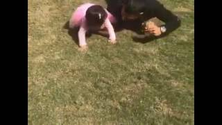 MS Dhoni playing with his daughter Ziva