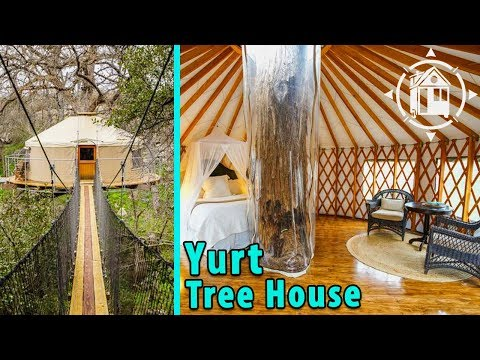 Romantic Yurt-style Tree House with Waterfall