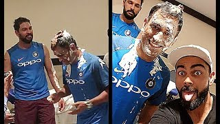 Ms Dhoni Face Shoved in Cake By Yuvraj Singh on his Birthday..