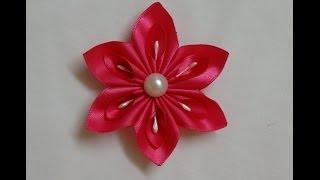DIY Kanzashi flower, easy ribbon flowers tutorial, how to make,kanzashi flores de cinta