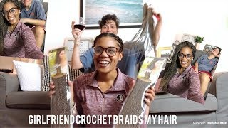 My gf does my crochet twists😱|| Interracial lesbian couple|| protective style