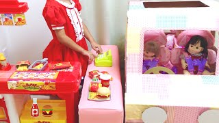 ダンボール車でドライブスルー ハンバーガー メルちゃん / Drive Thru : Cardboard Car and Burger shop Toy