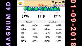 4D Result Today 01.09.2018 Toto, Magnum, Kuda, Singapore 4D Results Today
