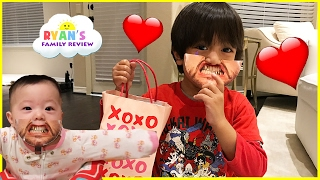 Kids Candy Surprise Valentine Day Haul and Princess T Family Fun Game Ryan