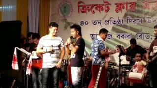 Kailash Kusum Bhigu Kaisyab and Latumoni on stage