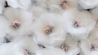 How to Make Organza Fabric Flowers + Tulle Flower Tutorial