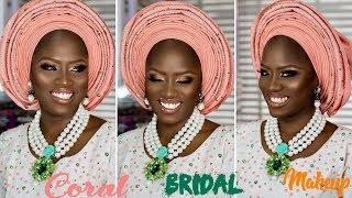CORAL YORUBA BRIDAL MAKEUP AND GELE TUTORIAL