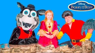 BEAUTY AND THE BEAST Gaston and Big Bad Steals Princess Belle Golden Rose Challenge Video