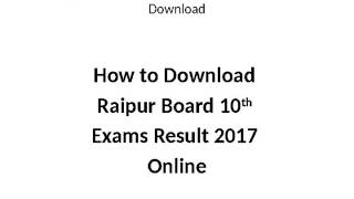 Chhattisgarh Board High School Result 2017 Name Wise Download