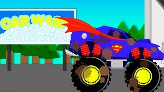 Superman Car Wash Monster Truck | videos For Children | videos for kids