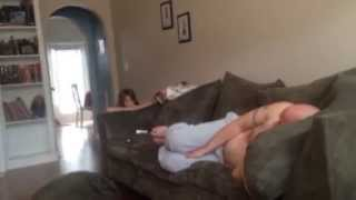 Daughter jumps on daddy while he's sleeping!
