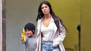 Mason Disick Points Toy Gun At Photographers On Outing With Kourtney Kardashian