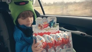 Kinder Joy Surprise Egg - opening in a Car - cool Toy