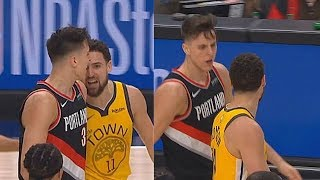 Klay Thompson Gets Angry & Trash Talks Zach Collins For Flop! Warriors vs Blazers