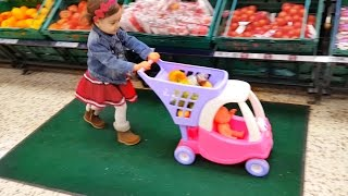 Baby Doing Grocery Shopping at Supermarket / Mini Cart