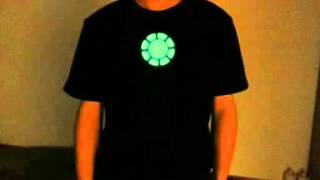 Cool Night Luminated T-shirt  Iron Man Tony Stark Arc Reactor