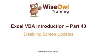 Excel VBA Introduction Part 40 - Disabling Screen Updates