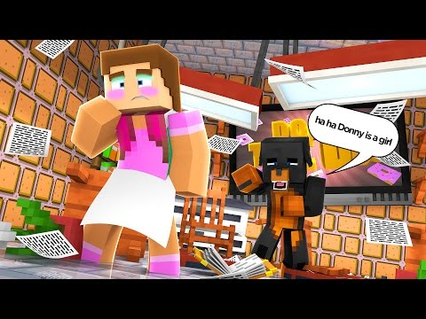 Minecraft DARES - DONUT & DONNY DRESS UP AS GIRLS -  Donut the Dog