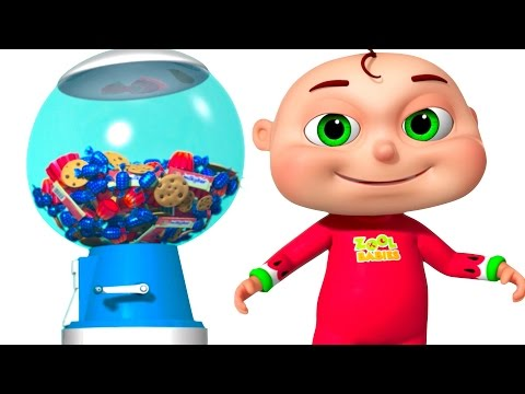 Five Little Babies Playing Ball Machine Zool Babies Fun Songs Surprise Ball Machine For Kids