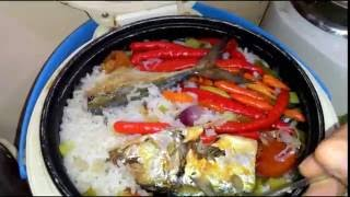 nasi liwet ikan peda dengan rice cooker