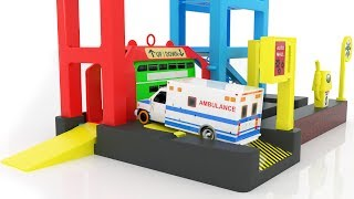 Learn Color for kids with Street Vehicles  Parking Garage Toy - Colours for Children Learning Videos