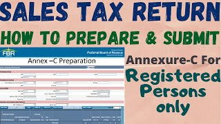 How To Prepare Annex-C In FBR Online   Sales Tax Return 2018   For Registered Person
