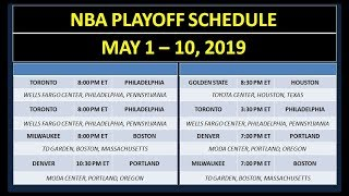 NBA Playoff Schedule on May 1 - 10, 2019