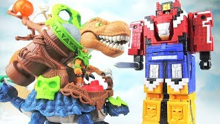 Bad guy Dinosaurs Attack Animals!! Go~Power Rangers Cube Animal King Robot Defeat Dinosaurs. 애니멀킹 공룡
