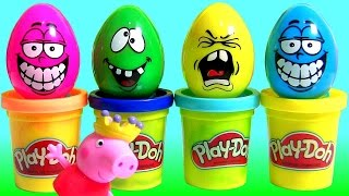 Play Doh Silly Faces Surprise Eggs ❤ Learn Colors with Peppa Pig Play-Doh Stampers