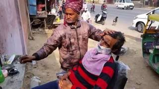 Unbelievable barber shaves on the street in India