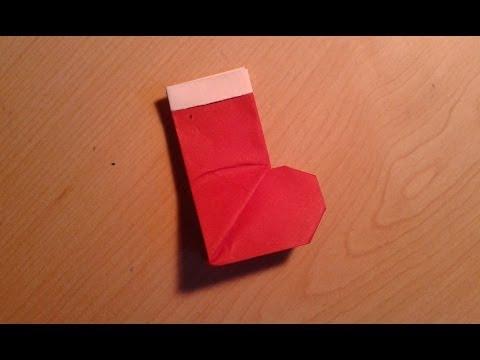 Origami Christmas Stocking/Santa Boot - Easy Tutorial