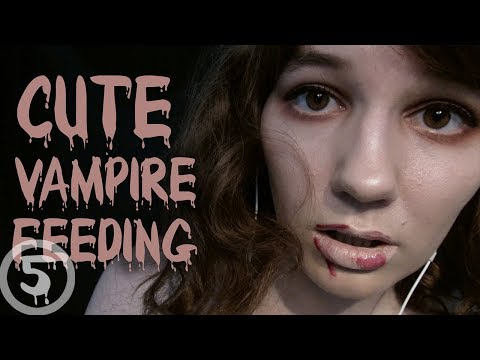 ASMR Cute Vampire Feeding Roleplay (slurping, hair brushing, whisper)