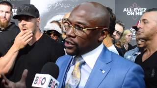 Floyd Mayweather First Interview About Conor McGregor Fight During All Eyez on Me Red Carpet